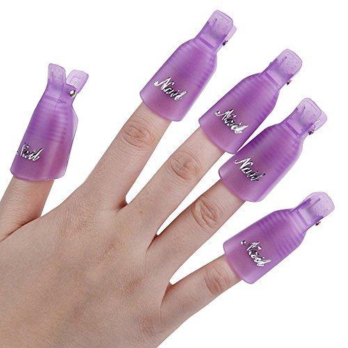 10 Stück Kunststoff-Nagel-Kunst tränken weg Cap Clip UV Gel Polish Remover Wrap-Werkzeug (Lila) (Gel 10% Gel)