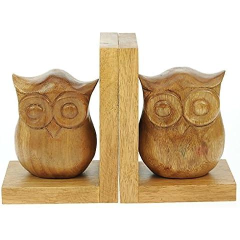 Talladas mano sujetalibros búho - bellamente a mano de madera - Lovely artículo decorativo y un regalo único de la Navidad (de gran tamaño 18 x 13 x 9 cm) Idea Mejor Regalo de Navidad: Presente de la alta calidad de madera tradicional para niños, adultos o los amantes