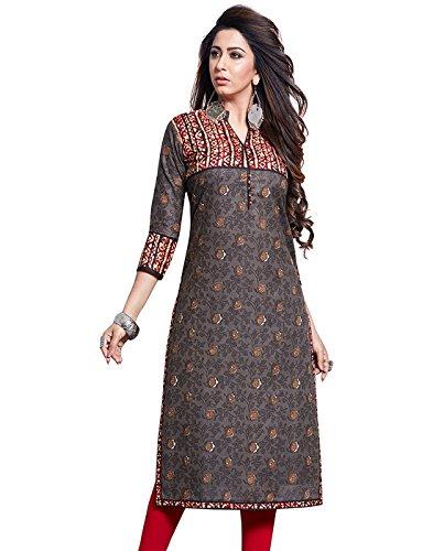 Jevi Prints Women's Unstitched Cotton Grey & Brown Kalamkari Printed Kurti Fabric...
