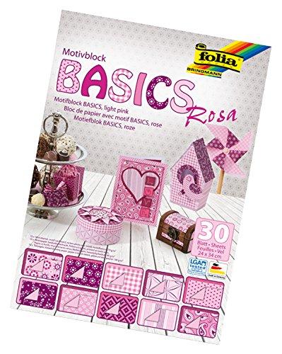 folia 46349 - Motivblock Basics rosa sortiert, 24 x 34 cm, 30 Blatt - Grundlage für hochwertige Bastelarbeiten