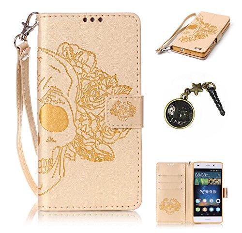 PU Coque P8 Lite , Multifonction Case Wallet Cover Etui en cuir Étui de protection flip Wallet stand Cover avec des fentes de cartes pour Huawei P8 Lite +Bouchons de poussière (8YY)