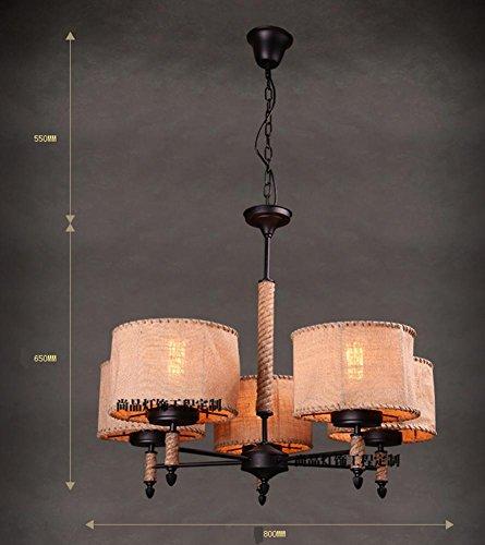 HHORD Hanf Gras Rattan geflochtenen Kronleuchter amerikanischen ländlichen Leinen Wohnzimmer industrielle Wind Beleuchtung Bar Persönlichkeit Nordic Retro Restaurant Hanfseil Ebene