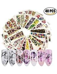 AIUIN 40 Piezas Pegatina de Uñas Diseño de DIY Flores de Tinta Acuarela Guías de Clavar Tip Pegatinas Conjunto con Uñas de Manicura