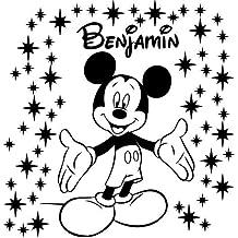 Tamaño 60cm Altura + 58star polvo color negro personalizable diseño de Mickey Mouse con nombre, adhesivo decorativo para pared, coche vinilo, dormitorio, cualquier nombre, infantil, después de la compra mensaje nosotros con su nombre ThatVinylPlace