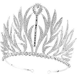 Tiara corona claro con piedras brillantes Santfe para reina de la belleza, graduación. Aprox. 11 cm (plata).