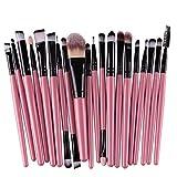 20Piezas Rcool Juego De Brochas Pinceles Profesionales Para Polvos Cepillo Sets Kits De Maquillaje Color Rosado Y Negro