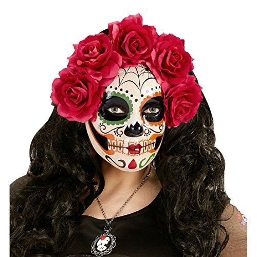 NET TOYS Sugar Skull Maske mit roten Rosen La Catrina Skelett Todesmaske Mexikanische Totenmaske Tag der Toten Totenkopfmaske Dia de los Muertos Halloweenmaske Schädel Gesichtsmaske Halloween