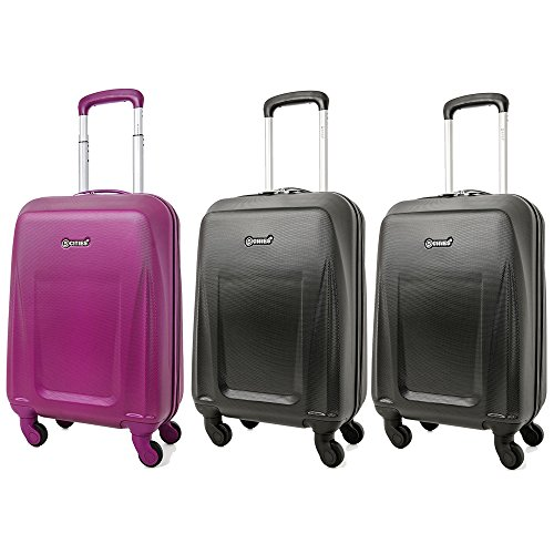 5 Cities Lightweight ABS Hard Shell Carry On Cabin Hand Luggage Suitcase with 4 Wheels, Approved for Ryanair, Easyjet, British Airways, Virgin Atlantic and More, Rose Gold (1 x Purple + 2x Black)