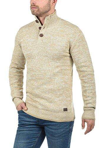 REDEFINED REBEL Maximillian Herren Strickpullover Pulli Troyer mit Stehkragen aus 100% Baumwolle Meliert Sand