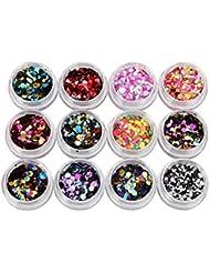 Tefamore 12 Couleurs Nail Art Tips Autocollants Acrylique 3D Glitter Sequins Manucure DIY
