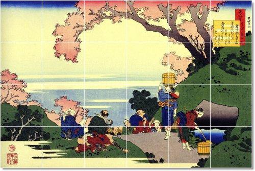 AZULEJO KATSUSHIKA HOKUSAI UKIYO-E MURAL CASA RENOVAR IDEAS  17X 25 5CM CON (24) 4 25X 4 25AZULEJOS DE CERAMICA