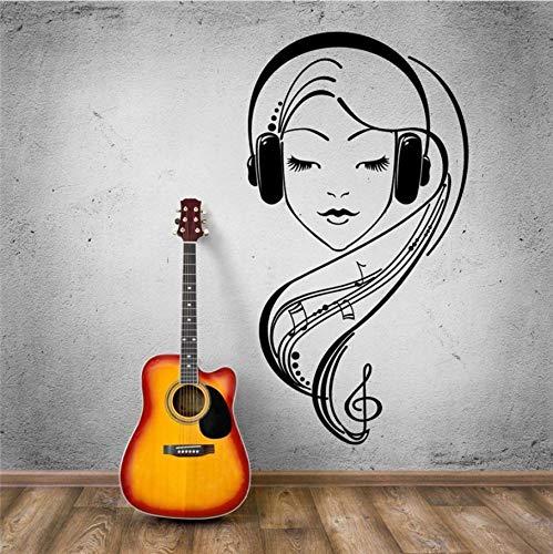 yangyueyue Persönlichkeit Glamour Girl Hören Musik Auf HeadphonesStickersKunstwand Wandtattoos Wohnkultur 42 * 81 CM -