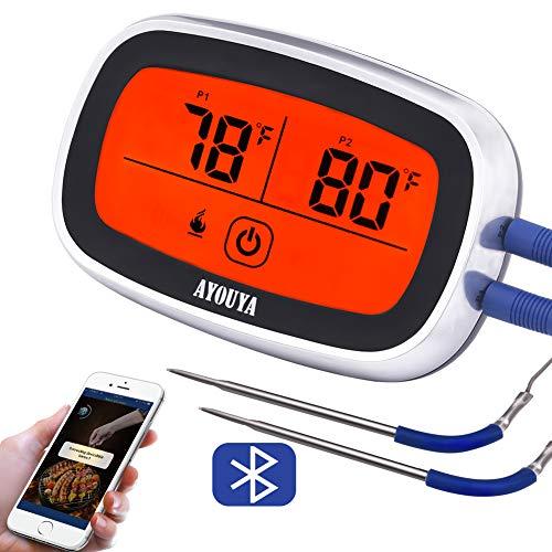 AYOUYA Fleischthermometer Grillthermometer bratenthermometer Bluetooth Bratenthermometer BBQ mit Touch LCD-Display Timer Alarm Magnet und App für Android/iOS, 2 Temperatur-Fühler bis 300 °C