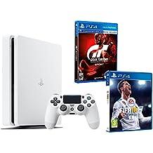 "PS4 Slim 500Gb Blanca Playstation 4 Consola - Pack 2 Juegos - FIFA 18 + Gran Turismo Sport ""GT Sport"""