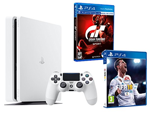 "PS4 Slim 500Go Blanche Playstation 4 PACK 2 jeux - FIFA 18 + Gran Turismo Sport ""GT Sport"""