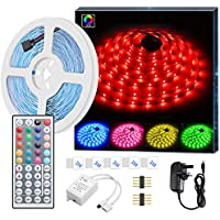 LED Strip Light MINGER 16.4ft(5m) RGB SMD 5050 LED Rope Lighting Color Changing Full Kit with 44-Keys IR Remote Controller LED Lighting Strips for Kitchen Christmas Decoration