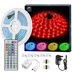 LED Strip Light MINGER RGB SMD 5050 LED Rope Lighting Color Changing Full Kit with 44-Keys IR Remote Controller LED Lighting Strips for Kitchen Christmas Decoration