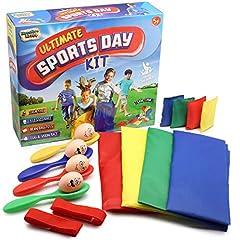 Idea Regalo - KreativeKraft Sports Day Kit | Mega Set 18 Pezzi per Festa di Compleanno per Bambini | Accessori per Corsa nei Sacchi, Corsa a 3 Gambe e Corsa con l'Uovo e Cucchiaio | Giochi all'Aperto