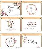 The Boho Life Dankeskarten 'Wild Flower'   Florales Set bestehend aus 60 Karten, Umschläge und Stickern   Für Hochzeitsbilder, JGA, Baby Shower, Geburtstag