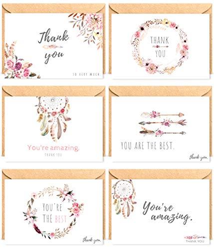 The Boho Life Dankeskarten 'Wild Flower' | Florales Set bestehend aus 60 Karten, Umschläge und Stickern | Für Hochzeitsbilder, JGA, Baby Shower, Geburtstag - Stilvolle Mutter Der Braut