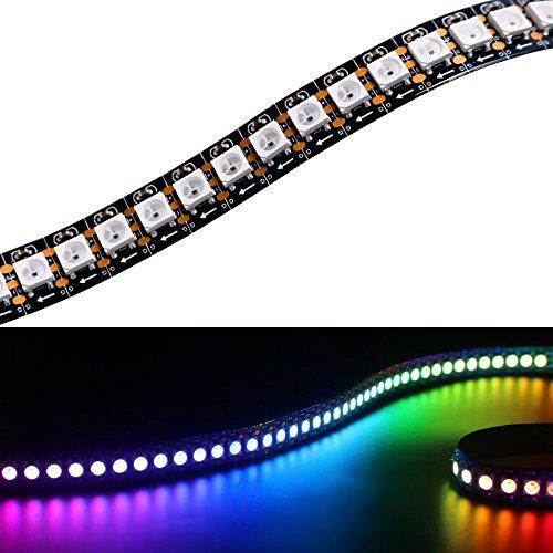 Matrix WS2812B LED Streifen 3.2fT 144 LEDs/m 5050 RGB SMD 5V Pixel Vollfarbe nicht wasserdicht Seil Licht (FPC, Schwarz FPC IP20)