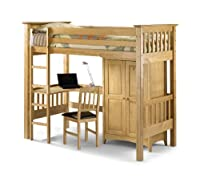 Julian Bowen Bedsitter Single Bunk Bed, Natural Pine
