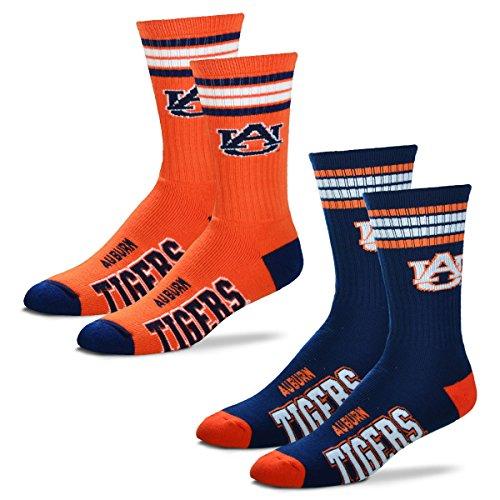 For Bare Feet NCAA Herren Socken 2 Stück gestreift Deuce Crew, Herren, Auburn Tigers-2 Pack-Navy & Orange, Large (10-13) -