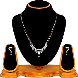 Quail Black Non-Precious Metal Designer American Diamond Mangalsutra Set For Women