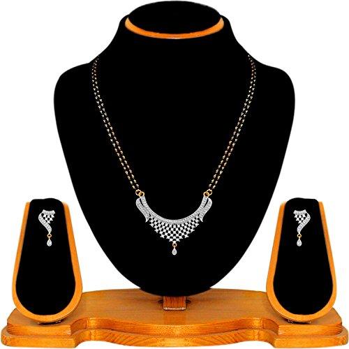 Quail Black Non-Precious Metal Designer American Diamond Mangalsutra Set For Women