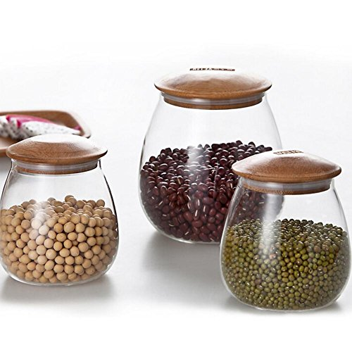 food storage jar glass with airtight seal bamboo lid canisters jars kitchen dry container for serving tea coffee spice and more sugar sets sealing ring 400ml 800ml home box canister containers