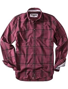 Marc O'Polo Herren Hemd Baumwolle Oberhemd Kariert, Größe: XL, Farbe: Violett