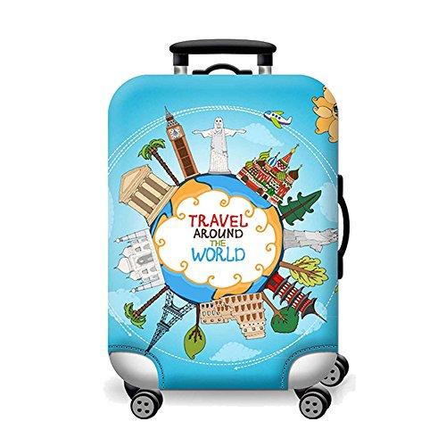Artone Viaggio Intorno Al Mondo Protezione Bagagli Bagaglio Copertura Valigia Adatti I Bagagli Da 26-28 Pollici Blu