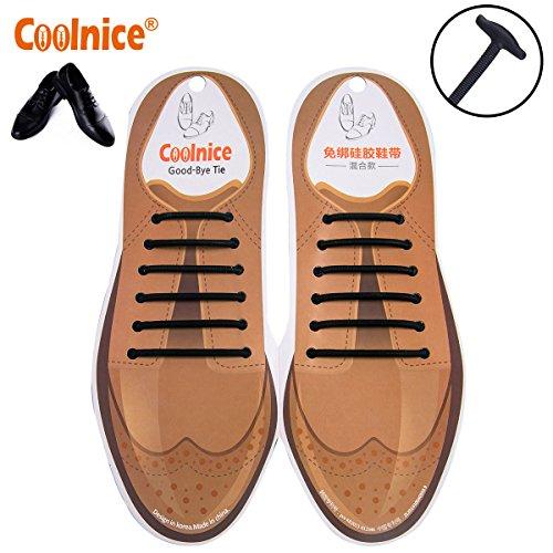 Coolnice® 12 Stücke No Tie Shoelaces Schnürsenkel Elastische für Erwachsene Geschäftsleute Lederschuhe Schnürsenkel Wasserdichte Silikon -Schwarz - mix Größe (Schwarz Geprüft, Krawatte)