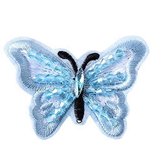 Dosige Schmetterling Aufnäher Bügelbild Aufbügler Iron on Patches Applikation Strass Blau 1 Stück 4 * 3.2CM