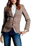 Frauen, Die Klassischen Britischen Stil Schlank, Lange Ärmel Revers Button - Down - Gitter Business - Anzug Brown M