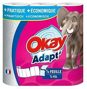 Okay Adapt - Essuie-tout demi-feuille Blanc - lot de 4 paquets de 3 rouleaux