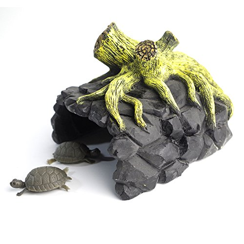 Reptile Amphibian Rock Tree Hide Cave,Non-Toxic Resin,Black and Turquoise Colors, For Aquarium Fish Decor Or Turtle, Lguanas, Lizards, Geckos, Snakes