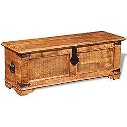 vidaXL Baúl para almacenaje de madera maciza mango