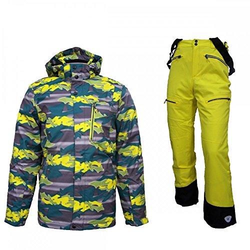 Killtec Ijabo Jr - Ski Set Kinder Skianzug mit gelber Hose, Farbe:Grün;Bitte Größe wählen:164