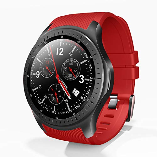 XSH Smart Watch 4G 1,3 Zoll IPS HD Display Aktivitäts Tracker Schlaf Pulsmesser Android 7.1.1 GPS Bluetooth 1GB + 16GB 600Mah Big Battery Sport Smartwatch Men,Red -