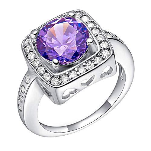Purmy donne anello bianca placcato oro fede nuziale con viola cubic zirconia 18k bianca placcato oro bloccare modello design dimensione 12