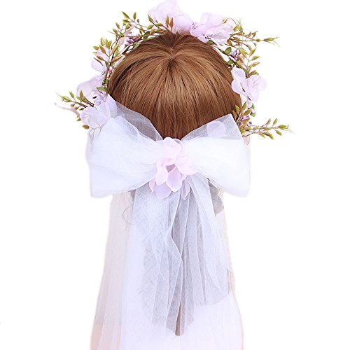JASNO Braut Kranz Schleier Rosa Bogen Garn Handgewebte Hellrosa Blume Stirnband Hochzeit Kleid Mädchen Erstkommunion Zubehör