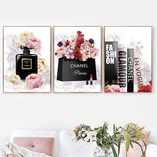 QAZZ Wandbild Buch Parfüm Blume Paris Marke Nordic Poster Und Drucke Wandkunst Leinwand Malerei Dekoration Bilder Für Wohnzimmer Dekor 3 Stücke Set 50X70 cm Kein Gestaltet -