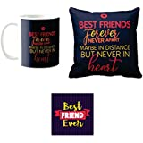 Yaya Cafe Friendship Day Gifts For Best Friends Forever Never Apart Set Of 3 Mug, Coaster, Cushion Cover