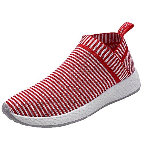 Elásticos Sapatos De Lona Sapatos Permeáveis respirável Tênis Fora Preguiçoso Vermelho