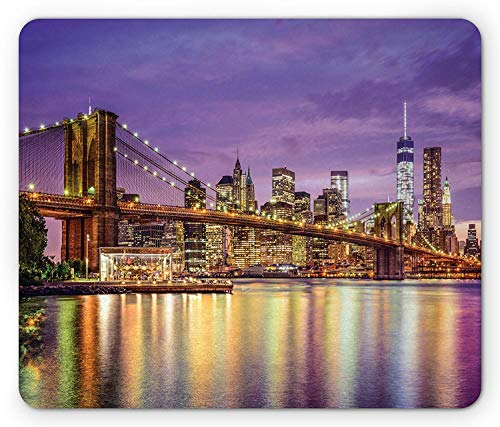 SHAQ New York Mouse Pad Mauspad, NYC Exquisite Skyline Manhattan Broadway Old Neighborhood Tourist Country Print, Standard Size Rectangle Non-Slip Rubber Mousepad, Purple Gold