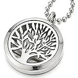 COOLSTEELANDBEYOND Kreis Baum des Lebens Medaillon Locket Anhänger Edelstahl Halskette für Damen mit 60cm Stahlkette