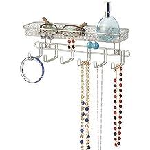 mDesign Práctico organizador de joyas para pared– Con 6 ganchos y 1 compartimento - 27,9 cm - Mueble joyero para anillos, gafas, collares y pendientes – Joyero con ganchos – Color: satinado
