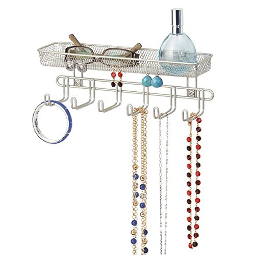 mDesign Practical jewelry organizer for wall- With 6 hooks and 1 compartment - 27,9 cm - Jewelry box for rings, glasses, necklaces and earrings - Jewelry box with hooks - Color: satin