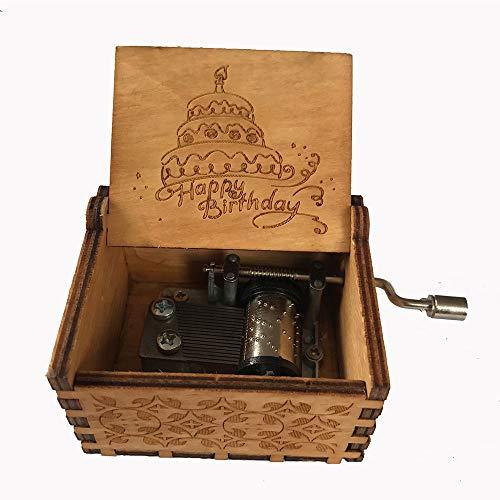 MINGZE Caja de música de Madera manivela, Pure Hand-Classical Music Box Hand-Wooden Music Box Creative Wooden Crafts Best Gifts, Variedad de Estilos (Happy Birthday)